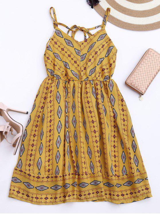 Vestido de Sol de Gasa con Tirantes Finos con Rombos de Colores - Amarillo Única Talla