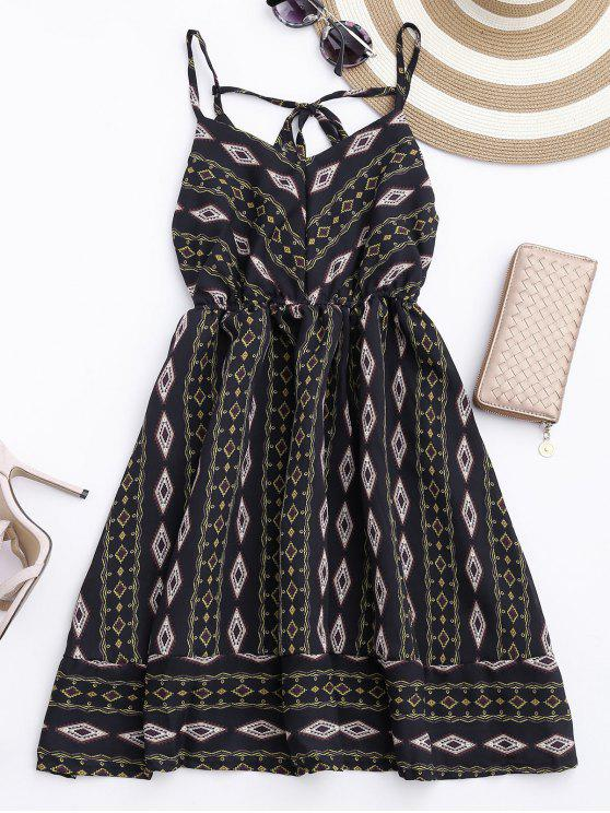 outfits Argyle Cami Chiffon Sundress - BLACK ONE SIZE
