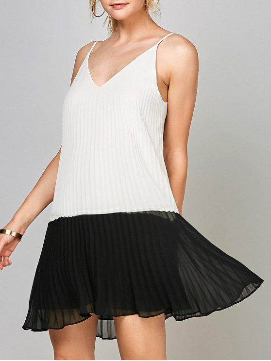 fashion Open Back Chiffon Pleated Slip Dress - WHITE AND BLACK L