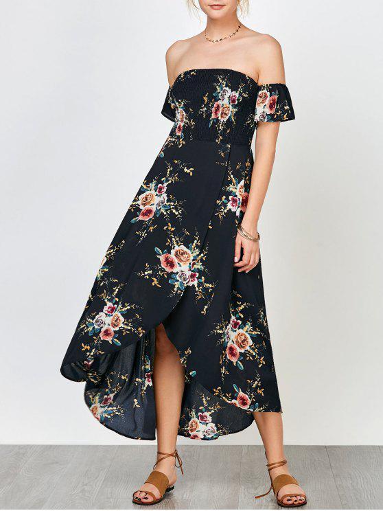 Robe Florale Smockée Épaules Dénudées avec Fente Devant - Bleu Cadette 2XL
