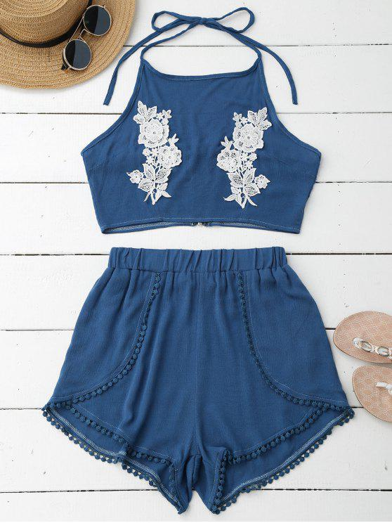 ladies Lace Floral Halter Crop Top and Shorts - BLUE L