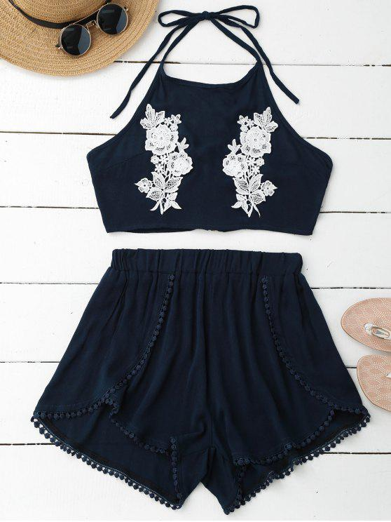hot Lace Floral Halter Crop Top and Shorts - PEARL INDIGO BLUE S