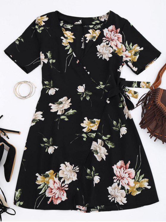 outfit Mini Floral Wrap Dress - FLORAL S