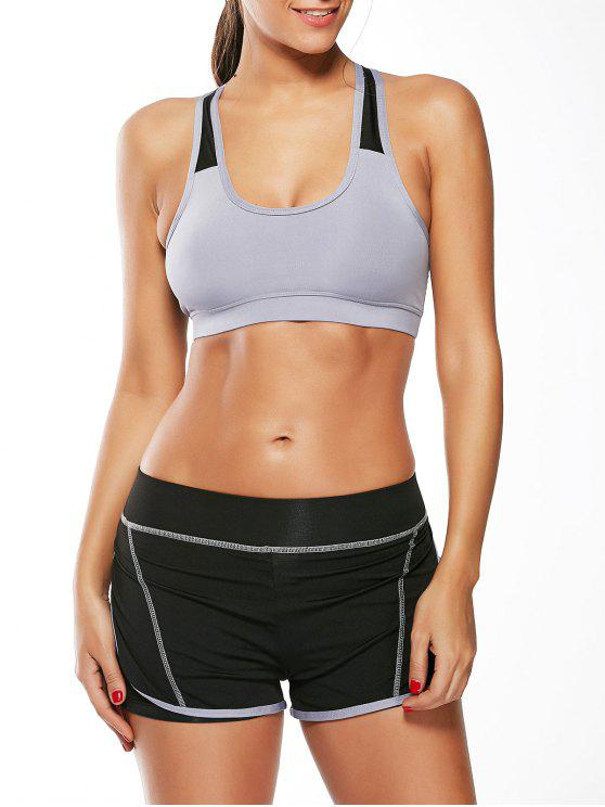 Strappy Padding Sports Bra et Layer Running Shorts - Gris L