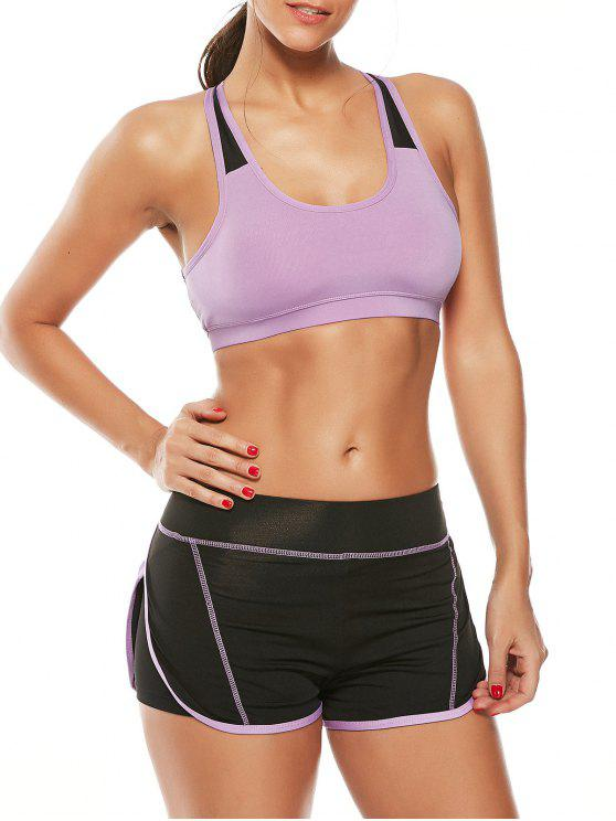 online Strappy Padded Sports Bra and Layer Running Shorts - PURPLE L