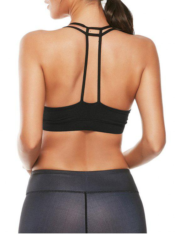 fancy Caged Strappy Sports Padded Bra - BLACK L