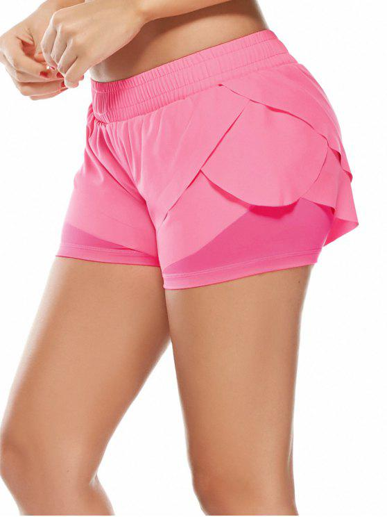 womens Elastic Waist Layered Sports Running Shorts - PINK L