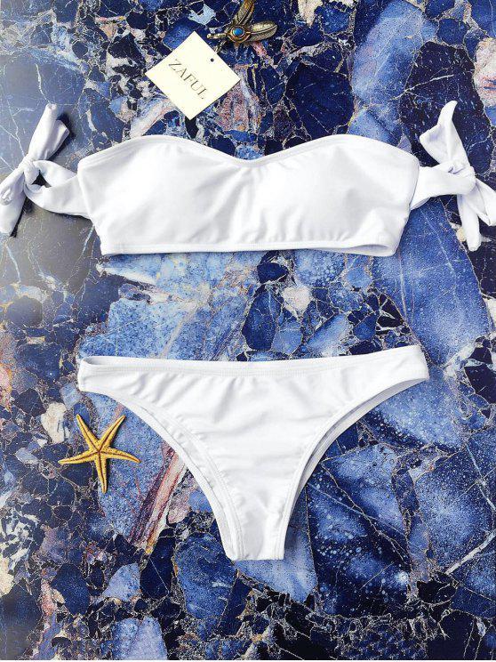 Traje de Bikini Fuera del Hombro con Manga de Nudo - Blanco S