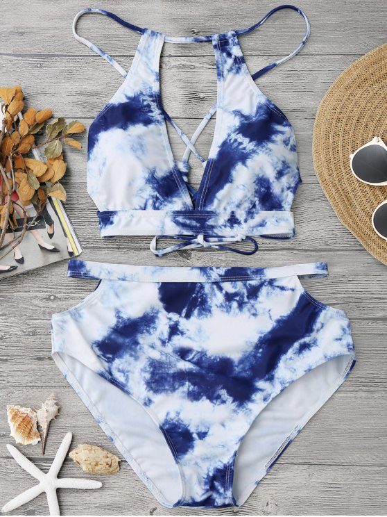 hot Cut Out Tie-Dyed High Waisted Bikini - BLUE AND WHITE M