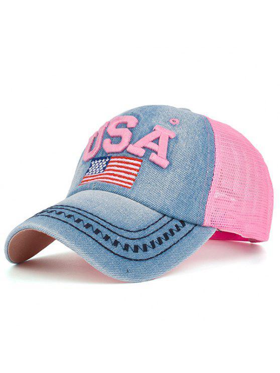 العنصر الأمريكي تطريز شبكة تقسم قبعة بيسبول - زهري