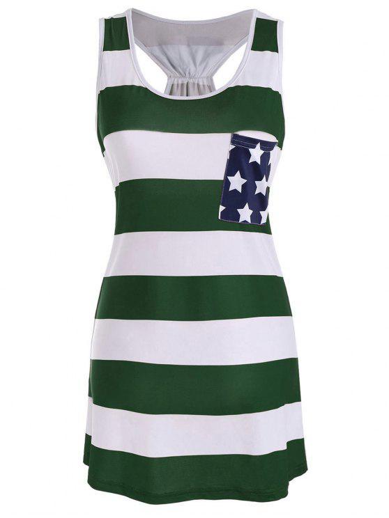 American Flag Bowknot Patriotic Racerback Tank Dress - Verde Nerastro M