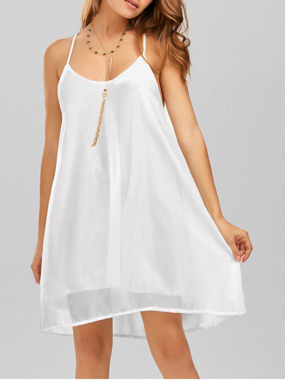 فستان شاطئ حزام السباغيتي شيفون قصير - أبيض M