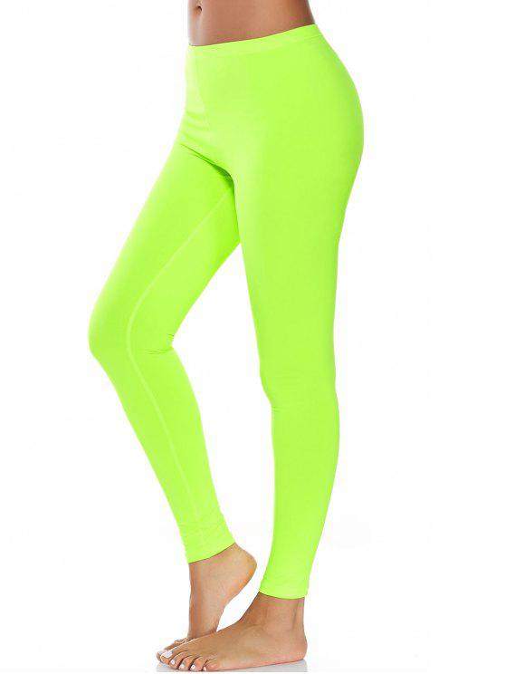 7f041ed7ee939 25% OFF] 2019 High Waist Compression Leggings In NEON GREEN | ZAFUL