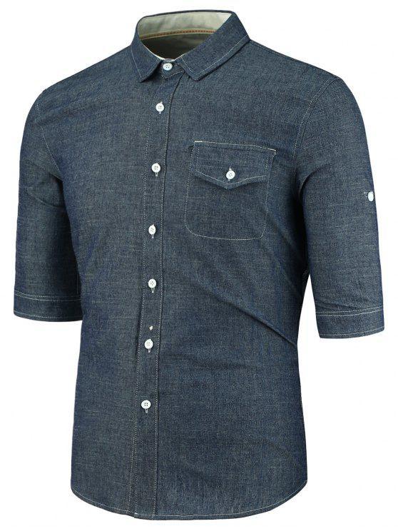 dbad428004 25% OFF  2019 Half Sleeve Turndown Collar Pocket Denim Shirt In ...