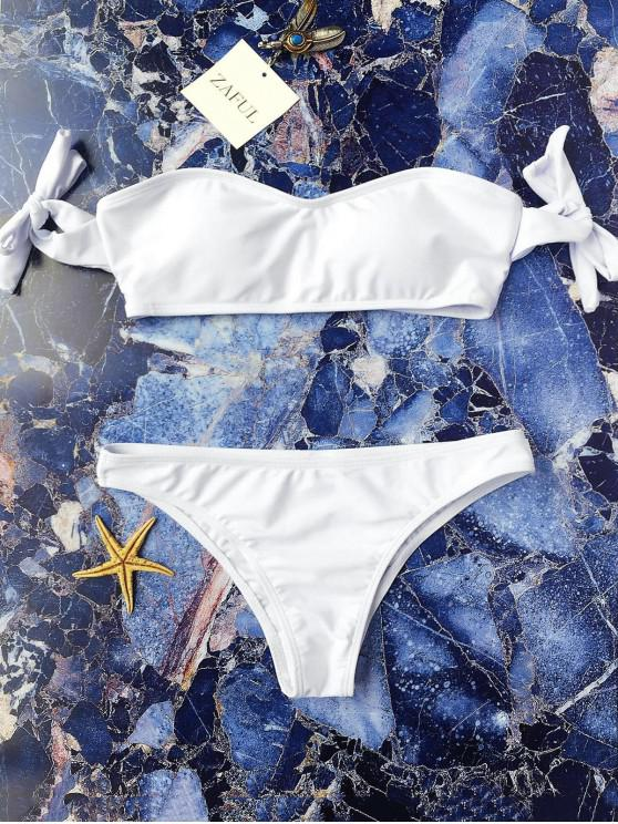 377ff39263 15% OFF] 2019 Tie Sleeve Off The Shoulder Bikini Set In WHITE | ZAFUL