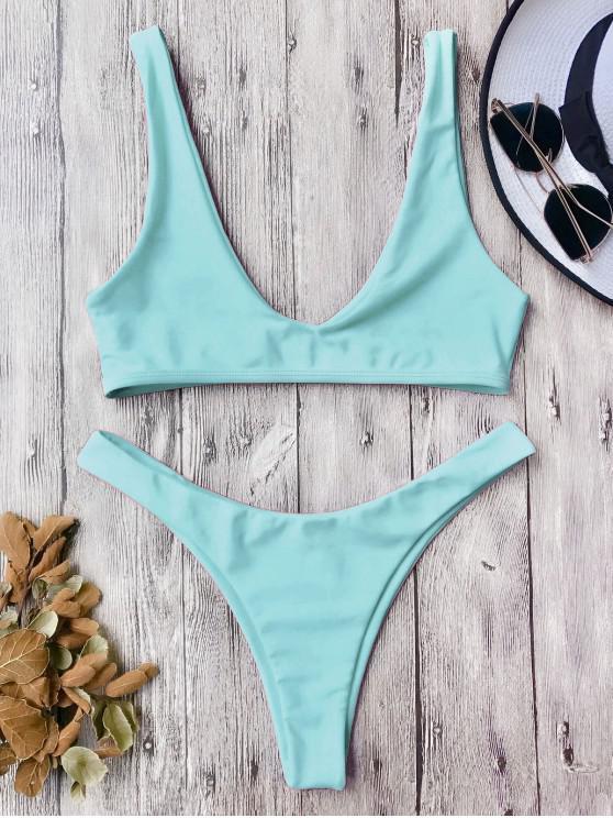 Traje de Bikini con Escote en U con Tiro Alto - Turquesa L