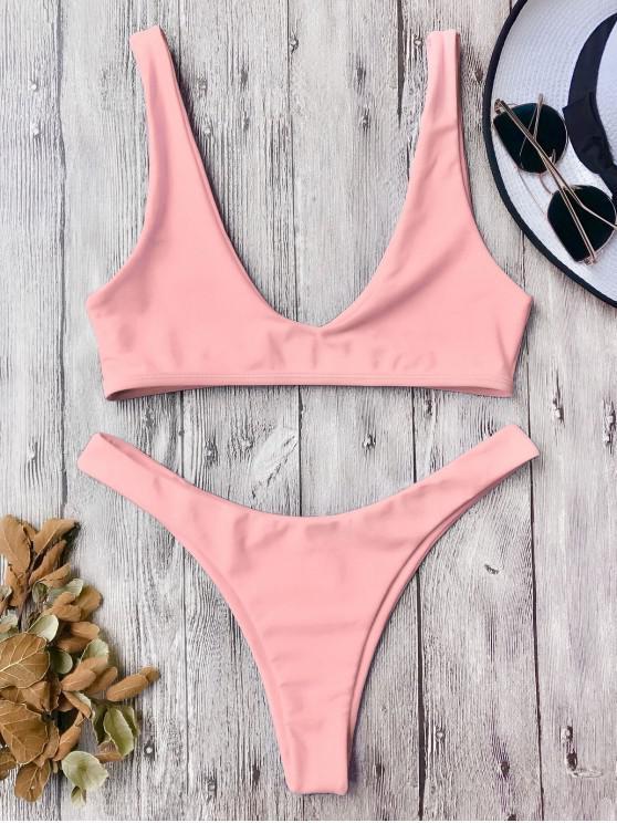 Traje de Bikini con Escote en U con Tiro Alto - Rosado L
