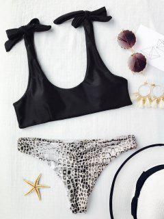 Tie Shoulder Croc Bikini Top And Bottoms - Black L