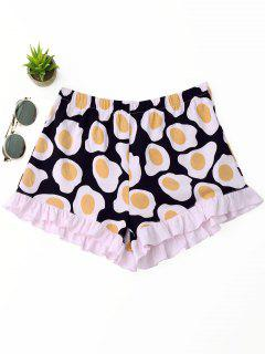 Ruffles Fried Egg Print Shorts - Pink S