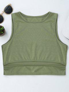 Cropped Cut Out Tank Top - Army Green Xl