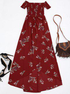Off Shoulder Floral Shirred Asymmetric Maxi Dress - Red L