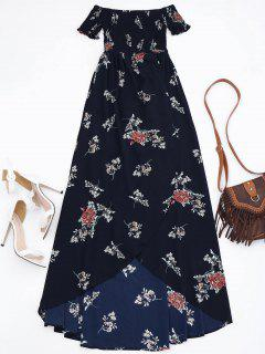 Off Shoulder Floral Shirred Asymmetric Maxi Dress - Cadetblue M