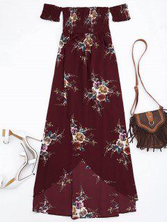 Slit Floral Shirred Waist Maxi Tube Dress - Burgundy L