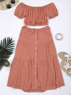 Cropped Off Shoulder Top And Buttun Up A-Line Skirt - Orangepink 2xl