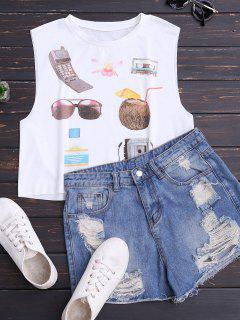 Trägershirt Aus Baumwoll Mit Vintage Druck - Weiß M