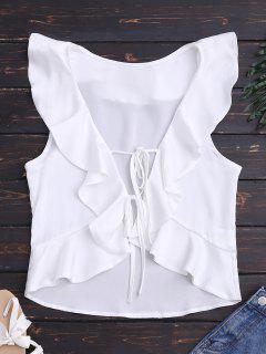 Front Tie Ruffles Cropped Tank Top - White M