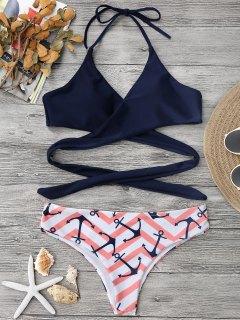 Bikini En Zigzag à Bretelle Américaine à Lacet - Rose PÂle L