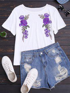 Cotton Floral Patched T-Shirt - White S