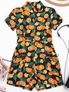 Orange Print Buttoned Romper With Pockets - M