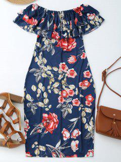 Off Shoulder Ruffle Floral Sheath Dress - Floral L
