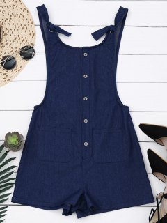 Buttun Up Pinafore Denim Romper With Pockets - Denim Blue S
