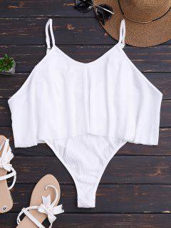Cami Ribbed Ruffles Bodysuit - White S