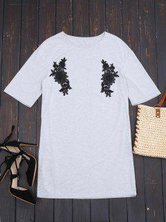 Short Sleeve Lace Panel Casual Dress - Gray S