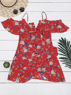 Floral Cold Shoulder Wrap Mini Dress - Floral S