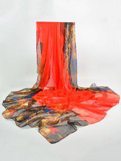 Lightsome Color Block Gossamer Shawl Scarf - Jacinth