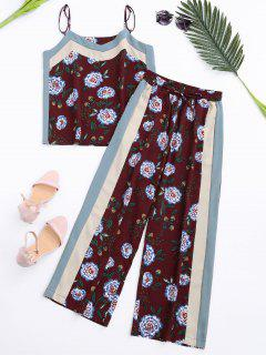 Floral Tank Top And Pants With Stripe - Wine Red S