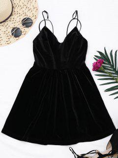 Criss Cross Strappy Slip Velvet Dress - Black S