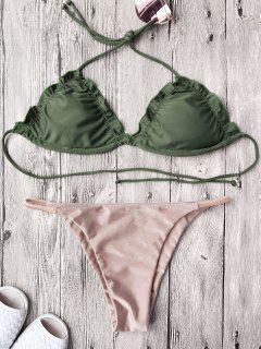 Frilled Padded String Bikini Set - Pink M