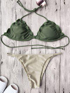 Frilled Gepolsterte String Bikini Set - Khaki S