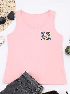 Camiseta De Algodón Bordada Con Letra Impresa - Rosa S