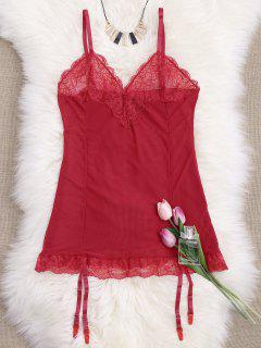 Cami Lace Panel Babydoll With Thong Panties - Red S