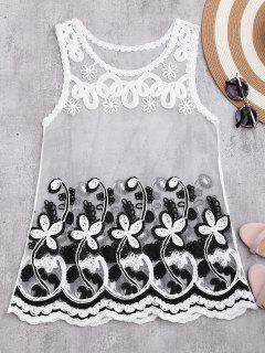 Camiseta Sin Mangas De Malla Transparente Con Patrón De Flores - Blanco