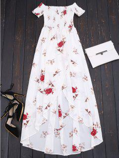 Off Shoulder Floral Shirred Asymmetric Maxi Dress - White S