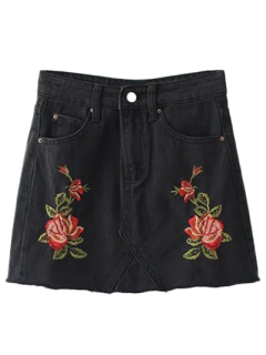 Cutoffs Rose Embroidered Denim Skirt - Black M
