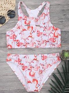 Bikini à Bretelle à Col Haut Découpé Et  Imprimé De Motifs De Flamant  - Blanc L