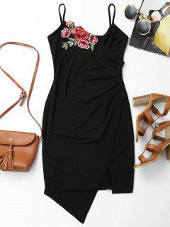 Floral Patched Asymmetrical Surplice Dress - Black L